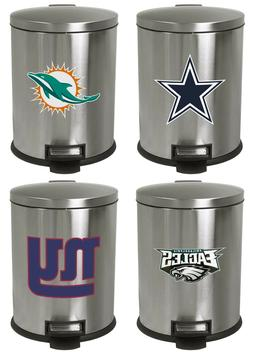 1.3 Gal Stainless Steel Step Can Wastebasket with a NFL Team
