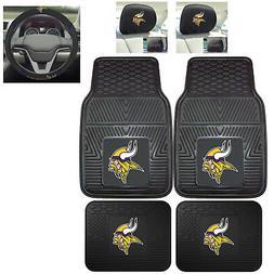 7pc NFL Minnesota Vikings Heavy Duty Rubber Floor Mats & Ste
