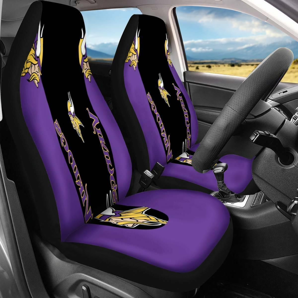 Minnesota Vikings 2Pcs Car Seat Covers Universal Fit Auto Tr