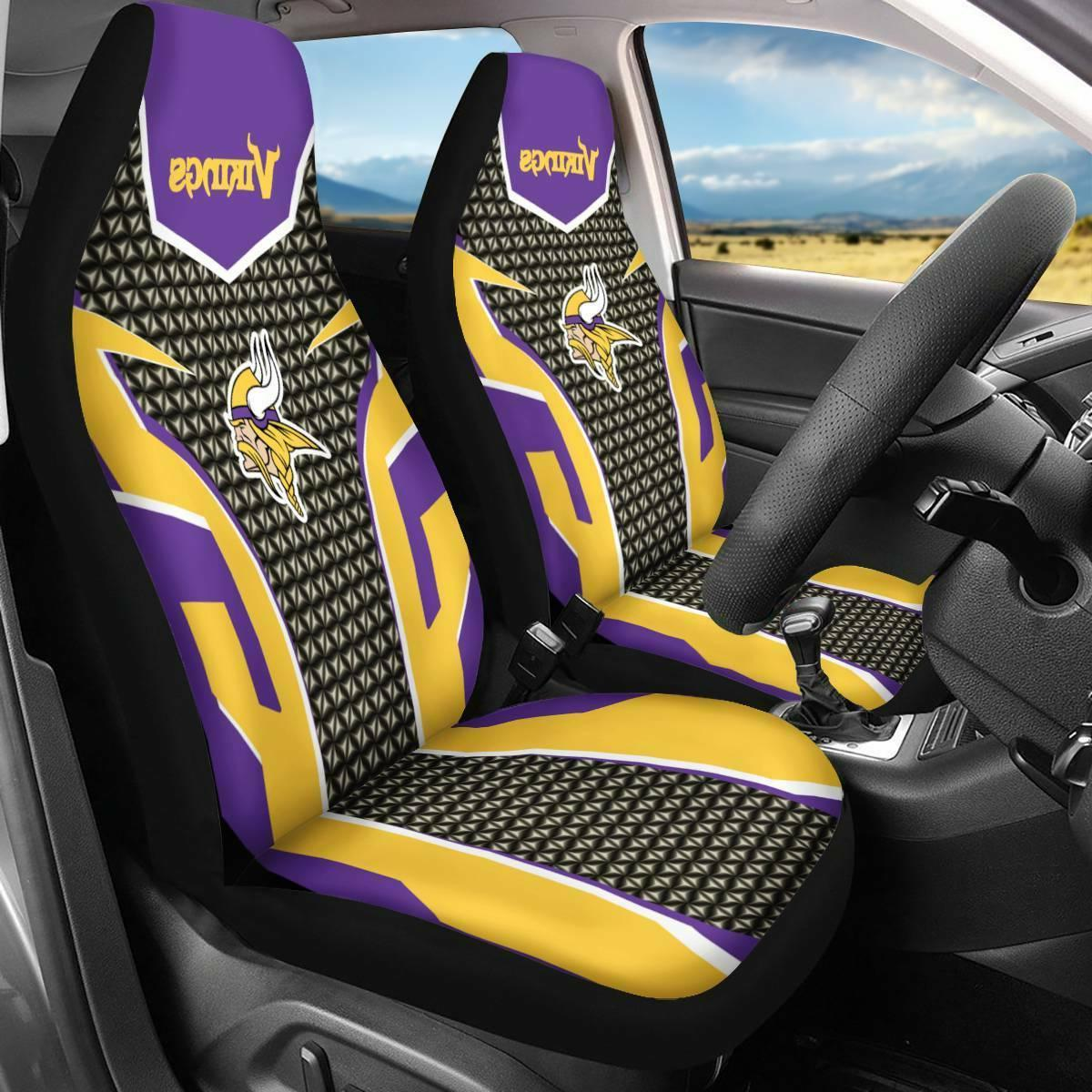 Set of Two Minnesota Vikings Car Seat Covers Universal Fit T