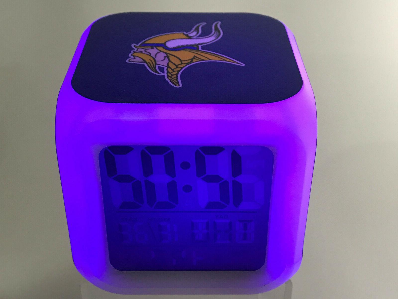 minnesota vikings led digital alarm clock watch