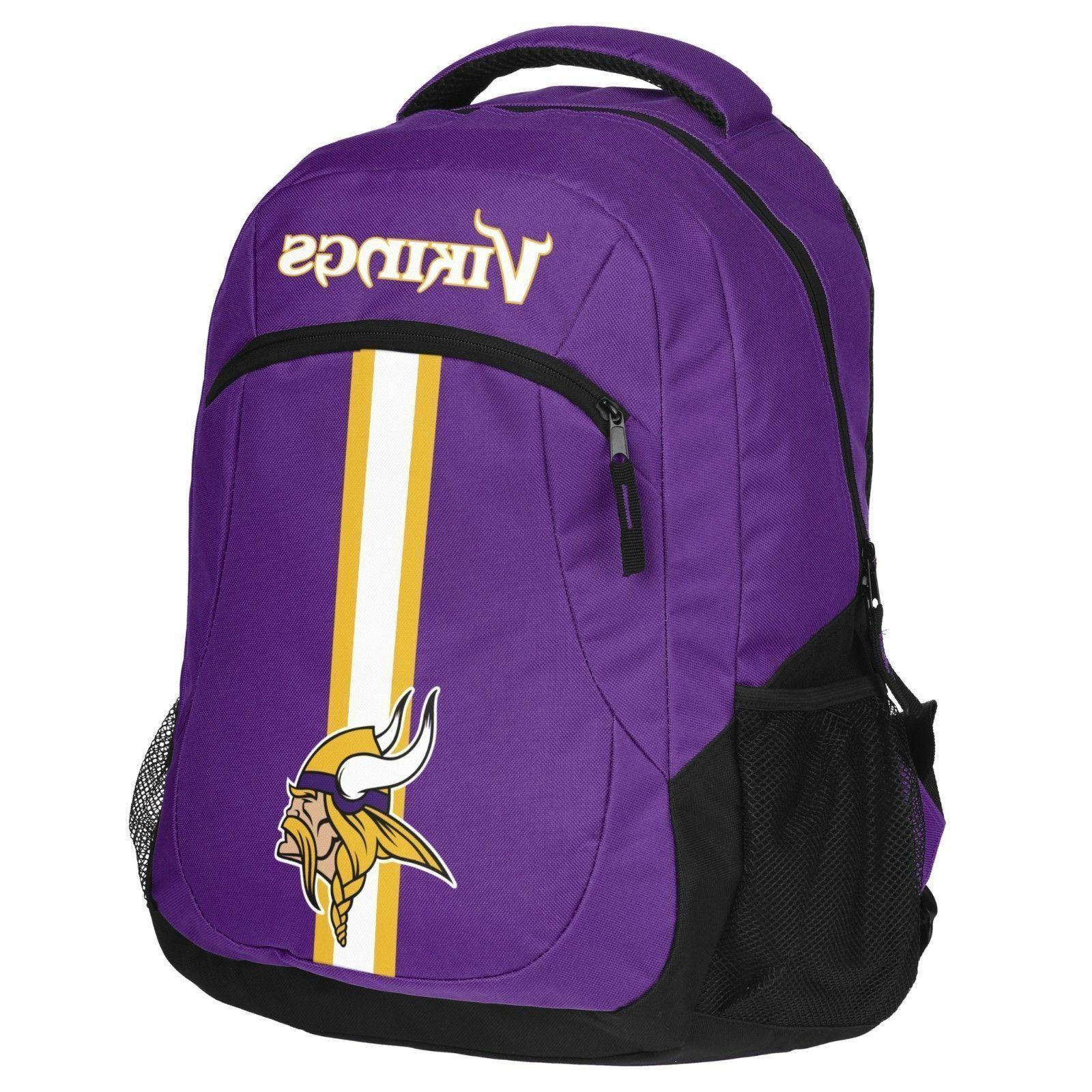 minnesota vikings logo action backpack school bag