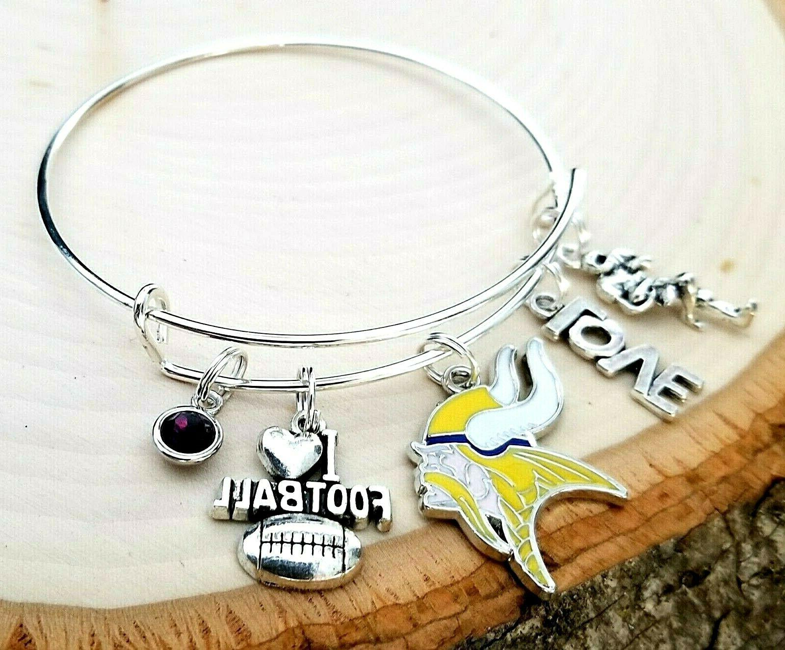 minnesota vikings nfl charm football bracelet