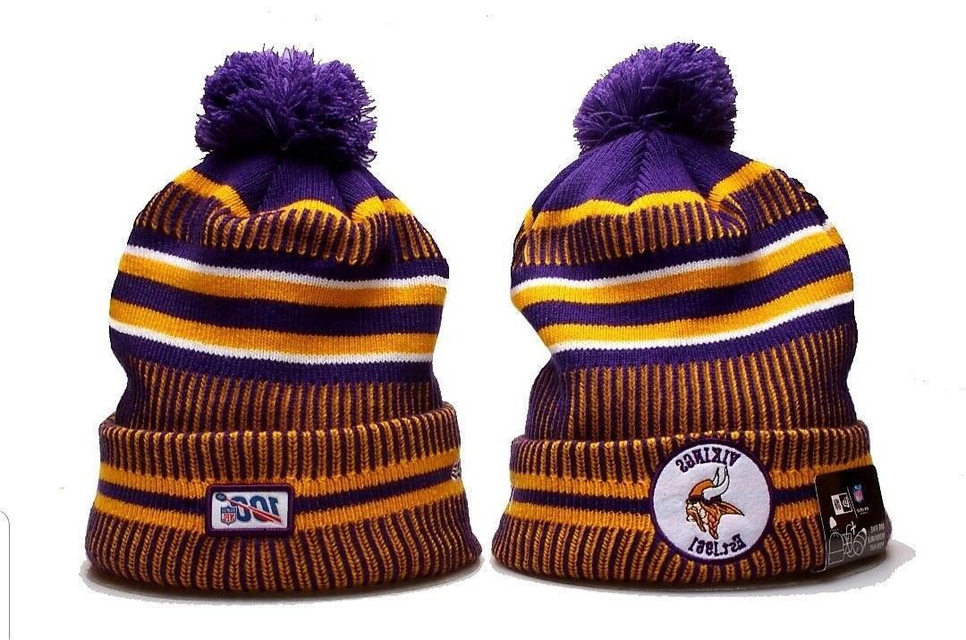 minnesota vikings nfl knit hat on field