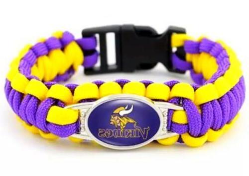 minnesota vikings nfl paracord charm survival bracelet