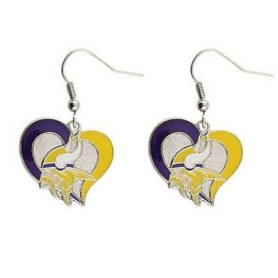 minnesota vikings nfl silver swirl heart dangle