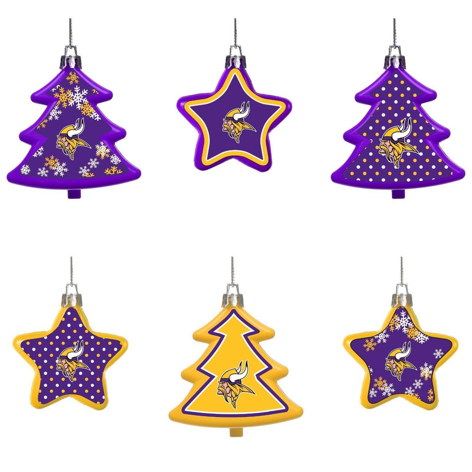 minnesota vikings shatterproof trees and stars christmas