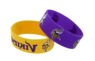 minnesota vikings silicone bracelets 2 pack wide