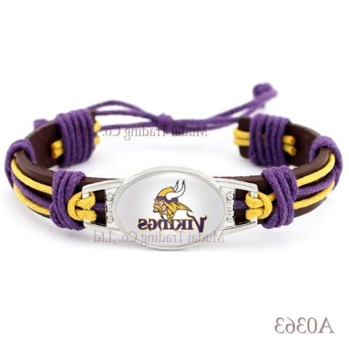 minnesota vikings tribal leather bracelet nfl football