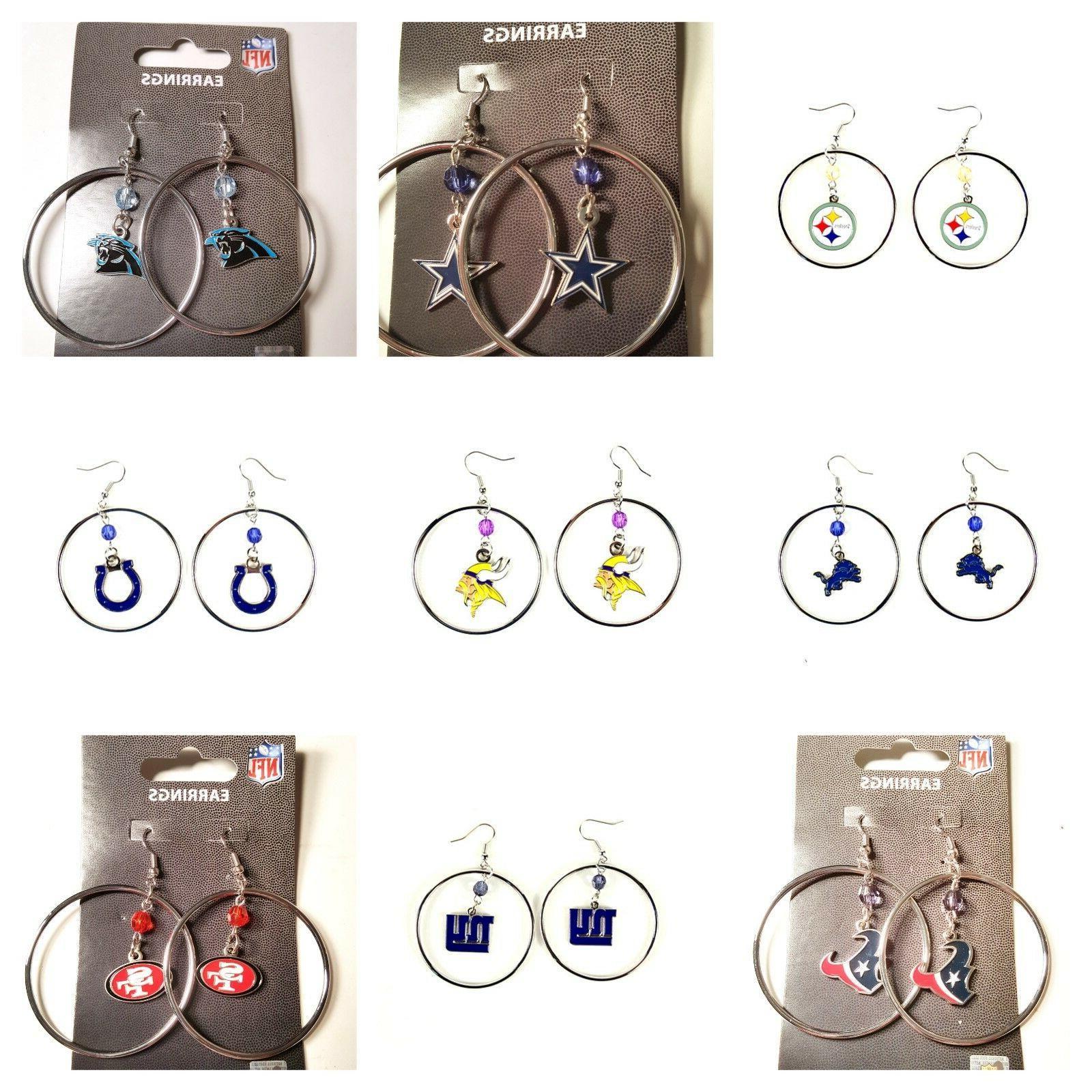 nfl earrings team 2 hoop color bead