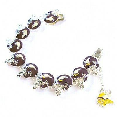 nfl football minnesota vikings silver charm bracelet