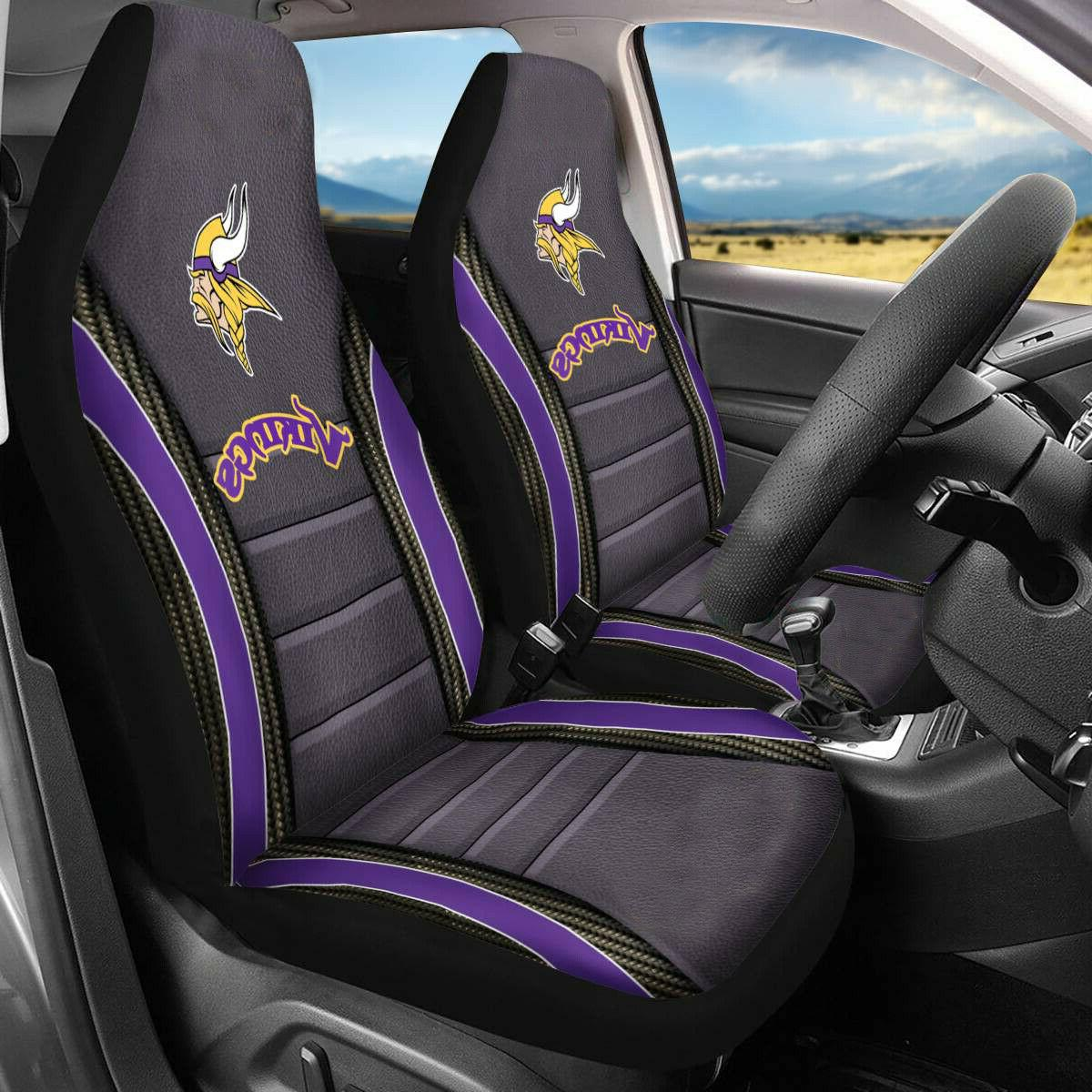Set Of Two Minnesota Vikings Car Front Seat Covers Universal