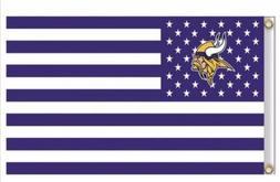 Minnesota Vikings 3x5 Ft American Flag Football New In Packa