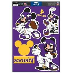 """MINNESOTA VIKINGS 4 PIECE MICKEY MOUSE DECALS 11""""X17"""" WALL G"""