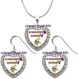 minnesota vikings 925 necklace earrings or set
