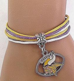 minnesota vikings bracelet football charm multi cord