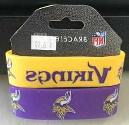 Minnesota Vikings Bracelets 2 Pack Wide Rubber NFL