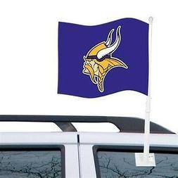 MINNESOTA VIKINGS CAR AUTO FLAG BANNER & POLE 2 SIDED NFL FO