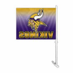 Fremont Die Inc Minnesota Vikings Car Flag With Wall Bracket