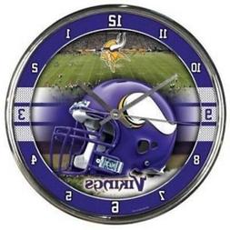 Minnesota Vikings Chrome Round Wall Clock  NFL Sign Banner O