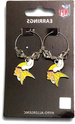 minnesota vikings dangle earrings clear beads hoop
