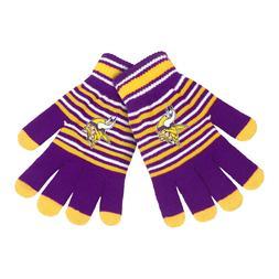 Minnesota Vikings Gloves Acrylic Stripe Knit Sports Logo Win