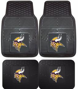 Minnesota Vikings Heavy Duty Floor Mats 2 & 4 pc Sets for Ca