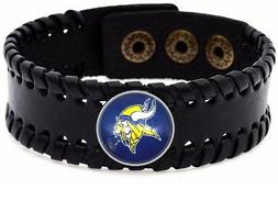 Minnesota Vikings Men's Women's Black Leather Bracelet Bangl