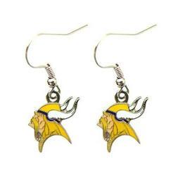 minnesota vikings nfl logo silver dangle earrings