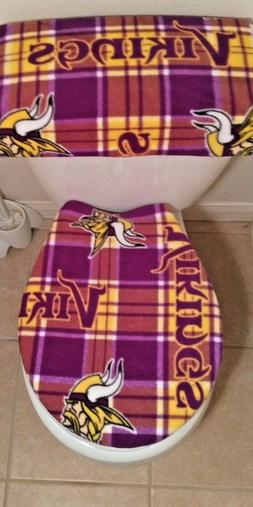 Minnesota Vikings Plaid Toilet Seat Cover Set Bathroom Acces