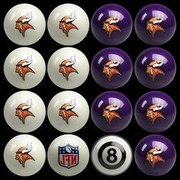 NFL Minnesota Vikings Pool Ball Billiards Balls Set w/ FREE