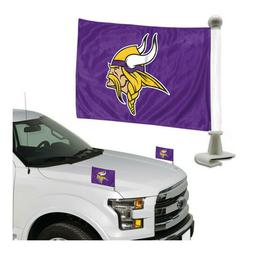 Minnesota Vikings Set of 2 Ambassador Style Car Flags - Trun