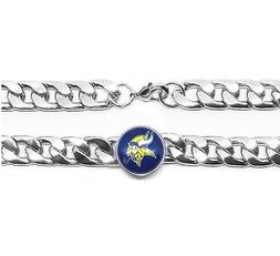 Minnesota Vikings Silver Wide Womens Mens Curb Link Chain Br