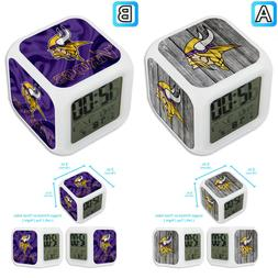 Minnesota Vikings Sport Alarm Digital Clock LED Light Night