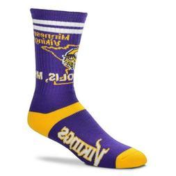 * Minnesota Vikings State Stripe Men's Crew Socks Size Large