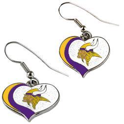 minnesota vikings swirl heart earrings dangle charm