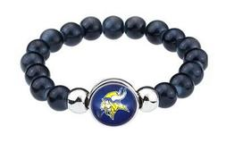 Minnesota Vikings Women's Men's Black Beaded Chain Bracelet