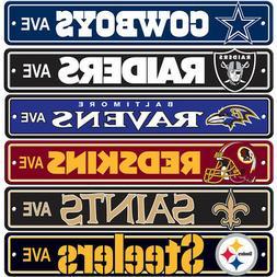 "New NFL 32 Teams Home Decor AVE Street Sign 24"" x 4"" Styrene"