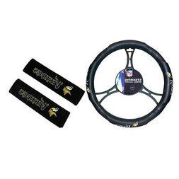 New NFL Minnesota Vikings Car Truck Steering Wheel Cover & S