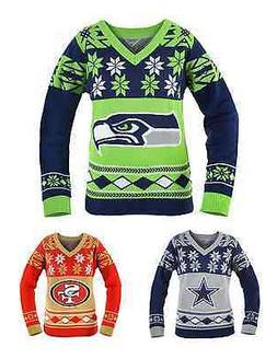 NFL Football Team Logo WOMENS Ugly V-NECK Sweater - Pick You