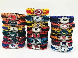"NFL FOOTBALL TEAMS EMERGENCY PARACORD SURVIVAL BRACELET 9"" M"