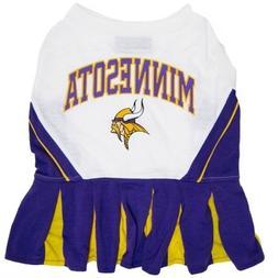 """NFL Minnesota Vikings Cheerleader Pet Dress-XS Fits 6""""- 8 1/"""
