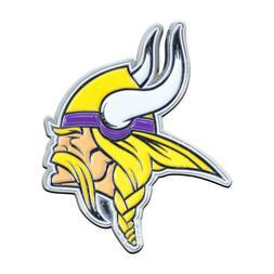 Fanmats NFL Minnesota Vikings Diecast 3D Color Emblem Car Tr