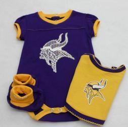 NFL Minnesota Vikings Newborn Girl Purple Bodysuit, Bib, and