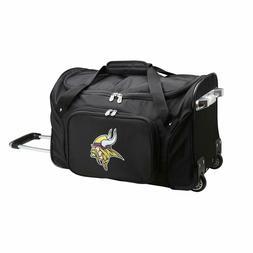 "NFL Minnesota Vikings Wheeled Duffle Bag 22 x 12 x 5.5"" Blac"