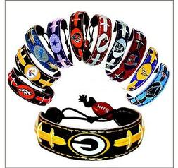 nfl team color leather football bracelet pick
