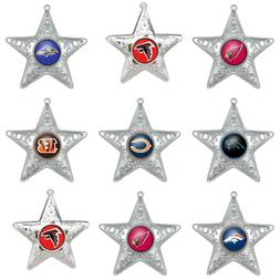 NFL TEAM ORNAMENT SILVER STAR CHRISTMAS X-MAS HOLIDAY TREE -