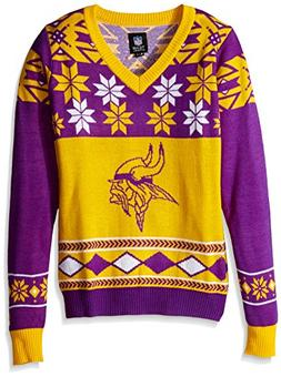 NFL Women's V-Neck Sweater, Minnesota Vikings, Medium