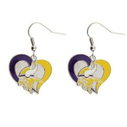 "Sports Team  Minnesota Vikings Logo 3/4"" Swirl Heart Dangle"