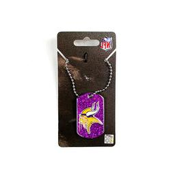 TWO  MINNESOTA VIKINGS, DOGTAG/NECKTAG GLITTER NECKLACES FRO